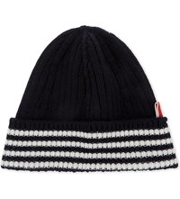 Thom Browne Striped Bar Cashmere Hat Navy
