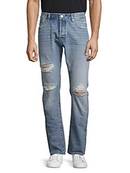Earnest Sewn Bryant Distressed Five Pocket Jeans Light Blue