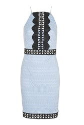 Topshop Crochet Trim Contrast Dress Pale Blue