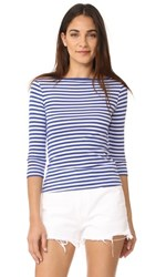Three Dots 3 4 Sleeve British Tee Mystic Blue White