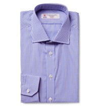 Turnbull And Asser Blue Cutaway Collar Gingham Cotton Poplin Shirt Blue