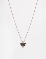 Asos Aztec Triangle Necklace In Silver