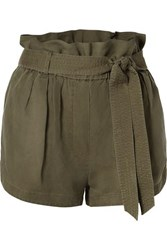 Frame Belted Linen Blend Shorts Army Green
