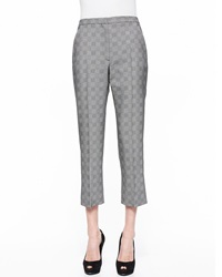 Alexander Mcqueen Prince Of Wales Cropped Flare Pants Black White