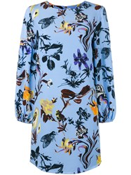 Tibi Floral Print Dress Women Silk Polyester 4 Blue