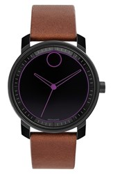 Movado Bold Leather Strap Watch 41Mm