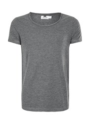 Topman Washed Black Raw Edge Scoop Neck T Shirt