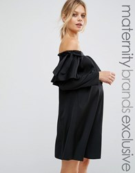 Queen Bee Satin Bardot Dress With Bow Detail Black