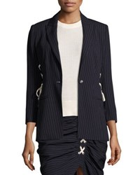 Veronica Beard Taylor Striped Lace Up Side Blazer Navy