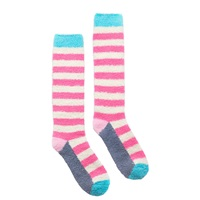 Joules Fabfluffy Knee High Stripe Socks Pack Of 1 Fondant Pink