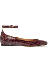 Isabel Marant Etoile Lili Python Effect Leather Ballet Flats Red