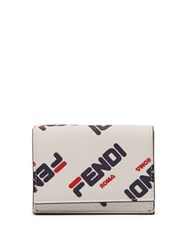 Fendi Mania Logo Print Tri Fold Leather Wallet White Multi