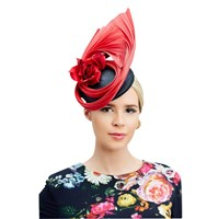 Rebecca Couture Zoe Pillbox And Fan Occasion Hat Black Red