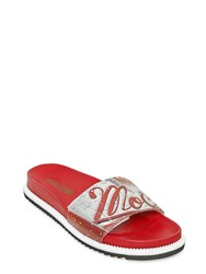 Moschino Cola Printed Leather Slide Sandals