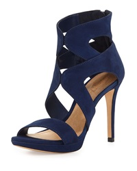 Schutz Hazel Strappy Suede Platform Sandal Dress Blue