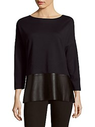 Lafayette 148 New York Boatneck Drop Shoulder Top Ink Black