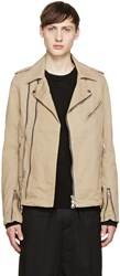 Balmain Beige Cotton Biker Jacket