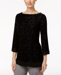 Charter Club Petite Velvet Boat Neck Tunic Only At Macy's Deep Black