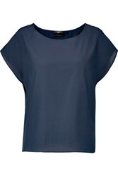 7 For All Mankind Silk And Cotton Blend Top Midnight Blue