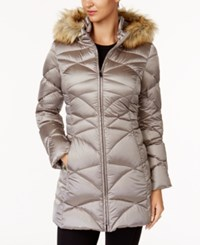 Jones New York Faux Fur Trim Quilted Down Puffer Coat Latte