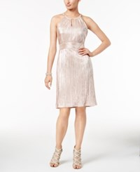 Nine West Metallic Pleated Halter Dress Blush
