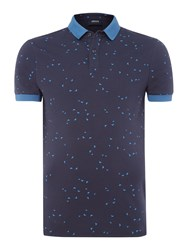 Armani Jeans Men's All Over Eagle Print Polo Shirt Navy