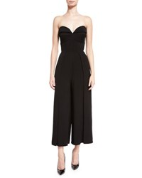 Brandon Maxwell Cropped Leg Bustier Jumpsuit Black