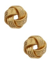 Italian 14K Yellow Gold Textured Love Knot Stud Earrings Beige