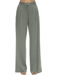 M Missoni Flared Lurex Jersey Pants Army Green