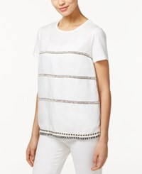 Max Mara Weekend Silla Mixed Media Beaded Top White
