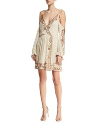 Haute Hippie Love And Other Disasters Cold Shoulder Silk Cocktail Dress Antique