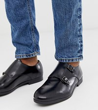 Hudson H By Wide Fit Rye Monk Shoes In Black Leather