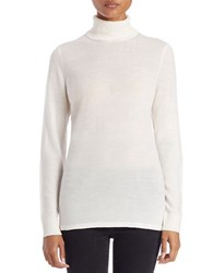 Lord And Taylor Fine Merino Wool Turtleneck Sweater Ivory