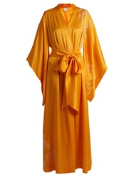 Carine Gilson Lace Applique Silk Satin Robe Yellow