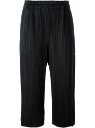 Pleats Please By Issey Miyake Pleated Cropped Trousers Black