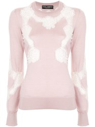 Dolce And Gabbana Chantilly Lace Crewneck Sweater Pink