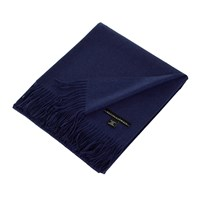 Sofia Cashmere Trentino 2 Ply Fringed Throw Navy