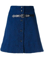 Sonia Rykiel Buttoned A Line Skirt Women Cotton Polyester Brass 36 Blue