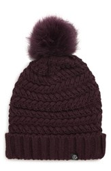 Treasure And Bond Cable Knit Beanie With Faux Fur Pom Purple Purple Mulberry