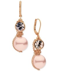 Givenchy Rose Gold Tone Pink Bead And Crystal Drop Earrings