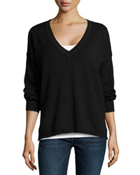 525 America V Neck Long Sleeve High Low Top Black