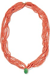Kenneth Jay Lane Coral And Jade Necklace