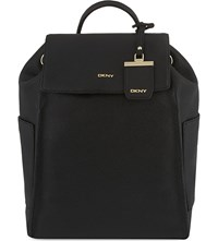 Dkny Chelsea Grained Leather Backpack Black