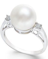 Macy's Cultured Freshwater Pearl 10Mm And Diamond Ring 1 10 Ct. T.W. In 14K White Gold