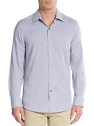 Report Collection Regular Fit Grid Print Cotton Sportshirt Blue