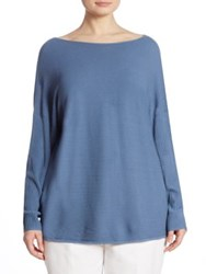 Lafayette 148 New York Rib Knit V Back Sweater Riptide
