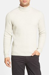 Men's Big And Tall John W. Nordstrom Ribbed Cashmere Turtleneck Sweater Grey Light Heather