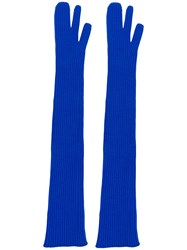 Maison Martin Margiela Long Ribbed Gloves Blue