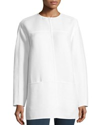 Lafayette 148 New York Maureen Striped Knit Jacket White