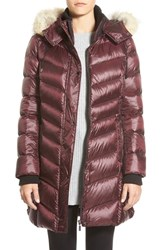Women's Bernardo Hooded Down And Primaloft Coat With Genuine Coyote Fur Trim